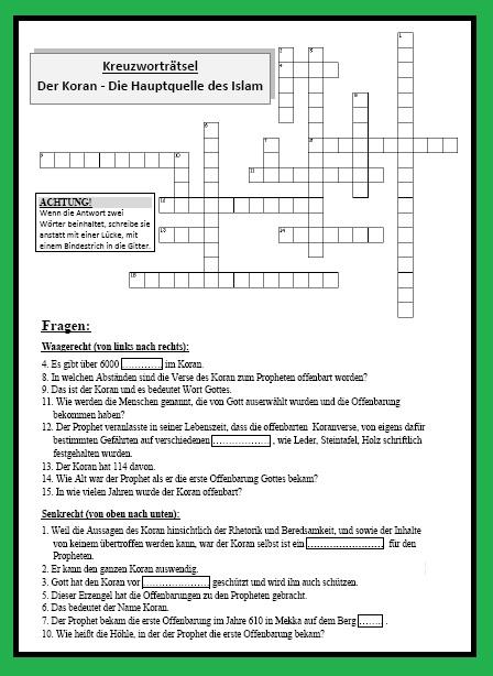 Der Koran – (Kreuzworträtsel . Klassisch mit 15 Fragen) für Kl. 7/8 ...